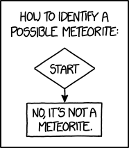 Click for an actual flowchart for identifying a meteorite. My favorite part is how 'Did someone see it fall? -> Yes' points to 'NOT A METEORITE.' This is not a mistake.